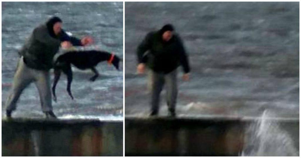 Άνδρας πετάει τον σκύλο του από μια προβλήτα στα παγωμένα νερά της θάλασσας