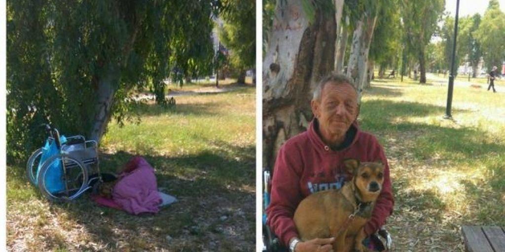 Πάτρα: Άστεγος καρκινοπαθής ζει στο πάρκο με μοναδική συντροφιά τα σκυλάκια του