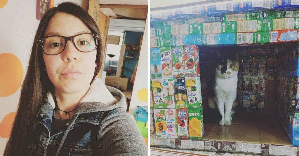 Αυτό το κορίτσι συλλέγει κουτιά από χυμούς και χτίζει σπίτια για τα γατάκια στο δρόμο